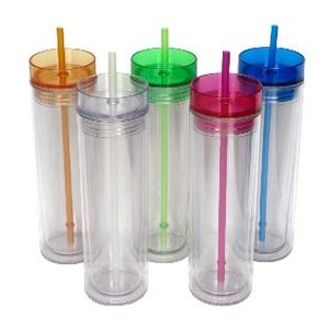 Breeze: 16 Oz. Double Wall Acrylic Tumbler w/Colored Lid and Matching St