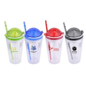 16 Oz. Double Wall Plastic Tumbler w/Juicer